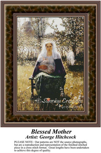 Blessed Mother, Fine Art Counted Cross Stitch Pattern, Women Counted Cross Stitch Patterns