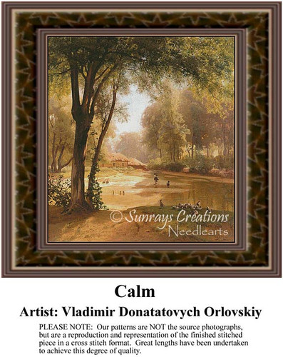 Calm, Fine Art Counted Cross Stitch Pattern, Alluring Landscapes Counted Cross Stitch Pattern