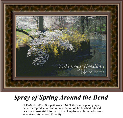Spray of Spring Around the Bend, Landscapes Counted Cross Stitch Pattern, Spring Counted Cross Stitch Patterns