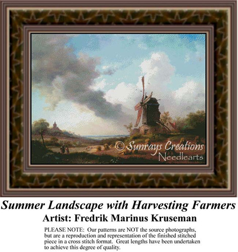 Summer Landscape with Harvesting Farmers, Windmill Counted Cross Stitch Pattern, Summer Counted Cross Stitch Pattern
