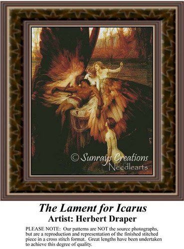 The Lament of Icarus, Fine Art Counted Cross Stitch Pattern