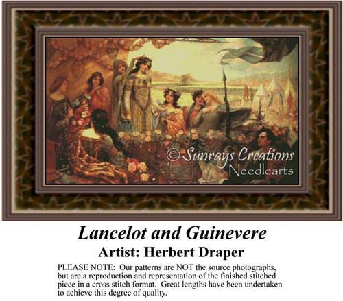 Lancelot & Guinevere, Fine Art Counted Cross Stitch Pattern, Romance Counted Cross Stitch Pattern