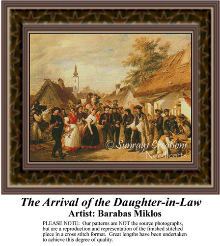 The Arrival of the Daughter-in-law, Fine Art Counted Cross Stitch Pattern