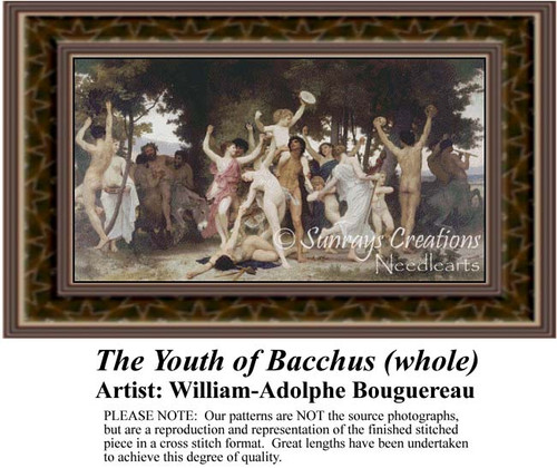 The Youth of Bacchus (whole), Fine Art Counted Cross Stitch Pattern, Social Counted Cross Stitch Pattern