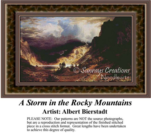 A Storm in the Rocky Mountains, Fine Art Counted Cross Stitch Pattern, Alluring Landscapes Counted Cross Stitch Patterns