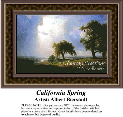 California Spring, Fine Art Counted Cross Stitch Pattern, Spring Counted Cross Stitch Pattern