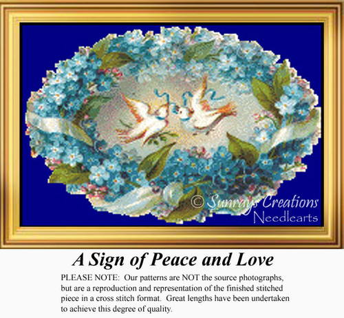 A Sign of Peace and Love, Vintage Counted Cross Stitch Pattern