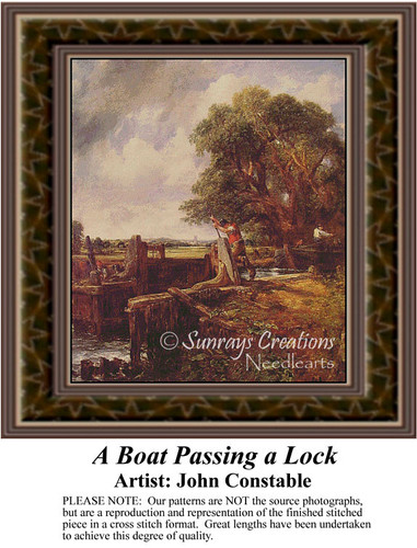 A Boat Passing a Lock, Fine Art Counted Cross Stitch Pattern