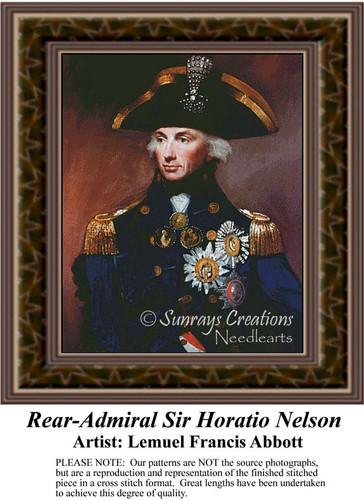 Rear-Admiral Sir Horatio Nelsen, Fine Art Counted Cross Stitch Pattern, Men Counted Cross Stitch Pattern