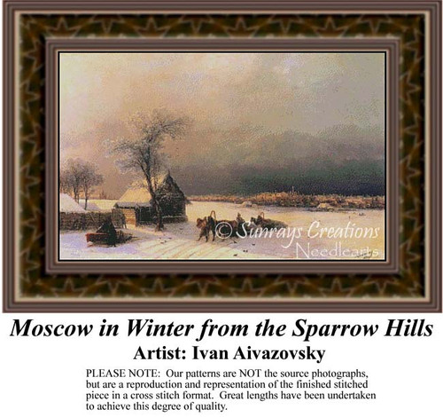 Moscow in Winter from the Sparrow Hills, Fine Art Counted Cross Stitch Pattern, Winter Counted Cross Stitch Pattern