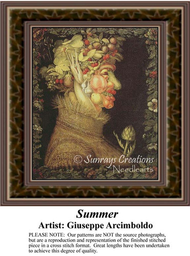 Summer, Fine Art Counted Cross Stitch Pattern, Summer Counted Cross Stitch Pattern