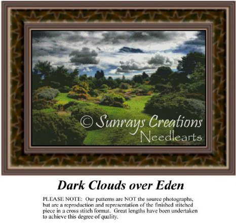 Dark Clouds Over Eden, Alluring Landscapes Counted Cross Stitch Pattern
