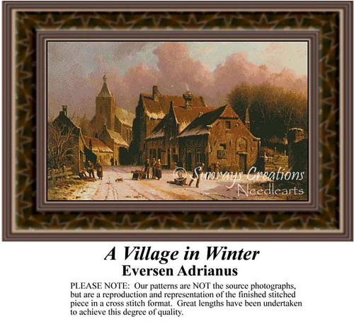 A Village in Winter, Urban Counted Cross Stitch Pattern, Fine Art Counted Cross Stitch Pattern