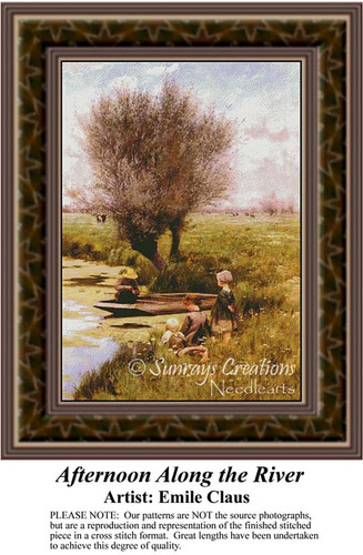 Afternoon Along the River, Waterscapes Counted Cross Stitch Pattern, Fine Arts Counted Cross Stitch Pattern
