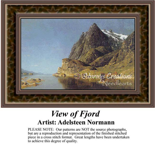 View of a Fjord, Fine Art Counted Cross Stitch Pattern