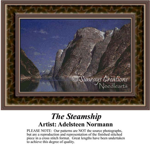 The Steamship, Waterscapes Counted Cross Stitch Pattern, Fine Art Counted Cross Stitch Pattern