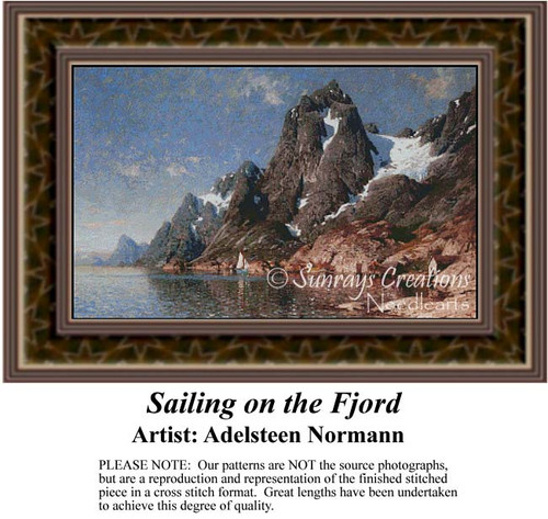 Sailing on the Fjord, Fine Art Counted Cross Stitch Pattern, Waterscapes Counted Cross Stitch Pattern