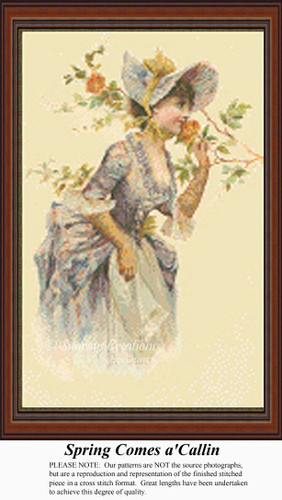 Spring Comes a' Callin, Vintage Counted Cross Stitch Pattern, Spring Counted Cross Stitch Pattern