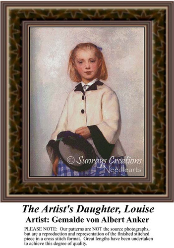 The Artist's Daughter Louise, Fine Art Counted Cross Stitch Pattern, Children Counted Cross Stitch Pattern