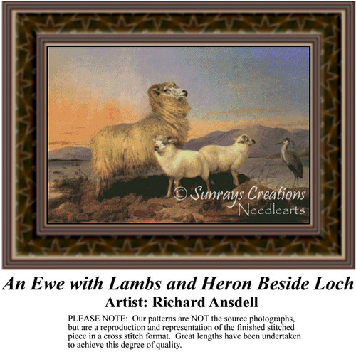 An Eye with Lambs and Heron Beside Loch, Fine Art Counted Cross Stitch Pattern