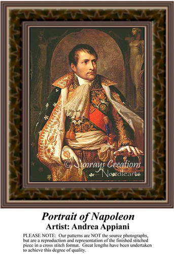 Portrait of Napoleon, Nobility Counted Cross Stitch Pattern, Fine Art Counted Cross Stitch Pattern