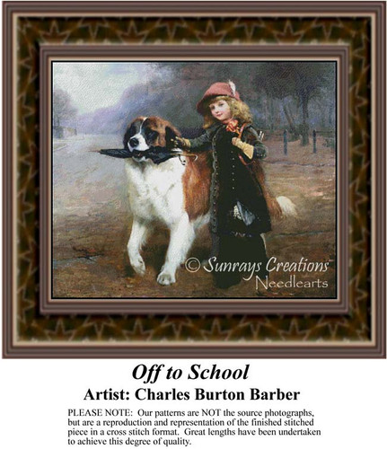 Off to School, Fine Art Counted Cross Stitch Pattern, Children Counted Cross Stitch Pattern