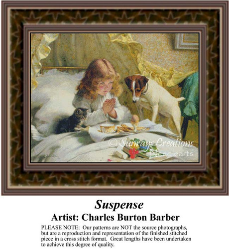 Suspense, Fine Art Counted Cross Stitch Pattern, Children Counted Cross Stitch Pattern