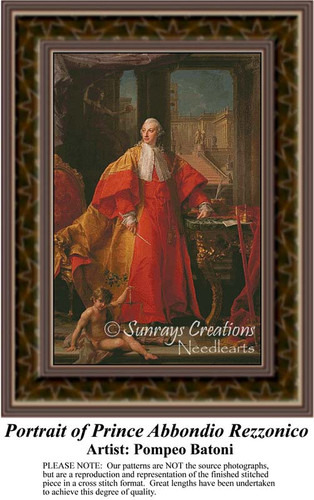 Portrait of Prince Abbondio Rezzonico, Nobility Counted Cross Stitch Pattern, Fine Art Counted Cross Stitch Pattern