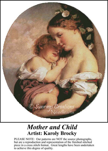 Mother and Child, Fine Art Counted Cross Stitch Pattern, Family Counted Cross Stitch Pattern