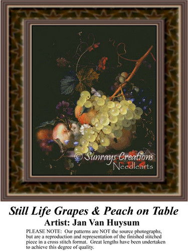 Still Life Grapes & Peach on Table, Still Lifes Counted Cross Stitch Pattern, Fine Art Counted Cross Stitch Pattern