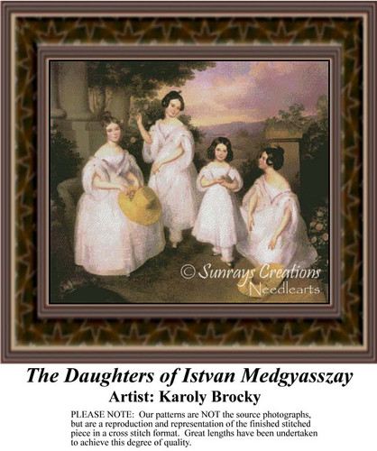 The Daughters of Istvan Medgyasszay, Fine Art Counted Cross Stitch Pattern, Family Counted Cross Stitch Pattern