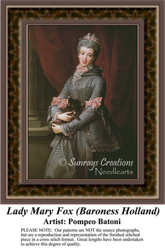 Lady Mary Fox (Baroness Holland), Fine Art Counted Cross Stitch Pattern, Women Counted Cross Stitch Pattern