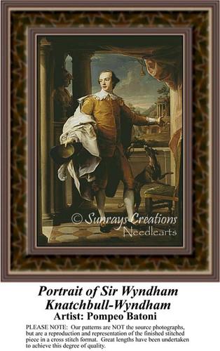 Portrait of Sir Wyndham Knatchbull-Wyndham, Nobility Counted Cross Stitch Pattern, Fine Art Counted Cross Stitch Pattern