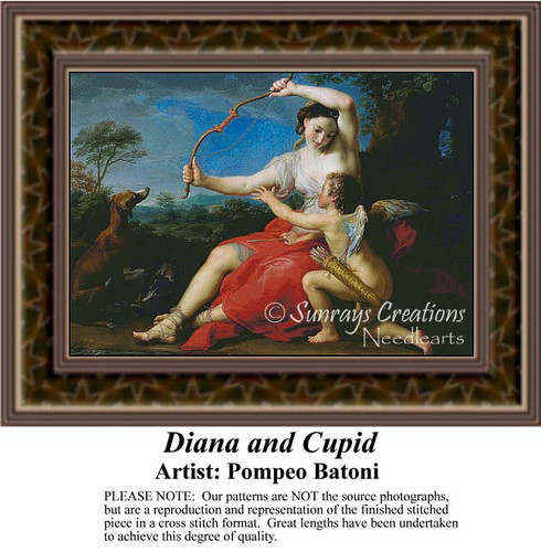 Diana and Cupid, Fine Art Counted Cross Stitch Pattern, Women Counted Cross Stitch Pattern