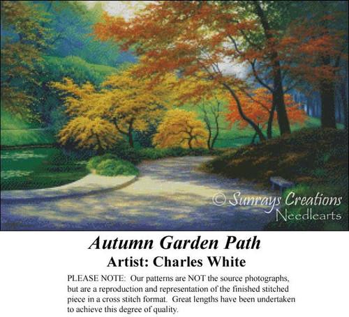 Autumn Garden Pattern, Charles White Cross Stitch Pattern, Fall Counted Cross Stitch Pattern