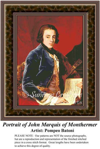 Portrait of John Marquis of Monthermer, Fine Art Counted Cross Stitch Pattern, Men Counted Cross Stitch Pattern