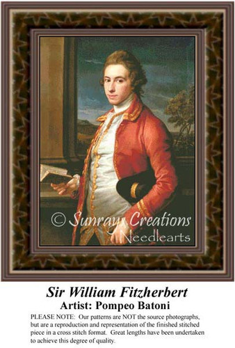 Sir William Fitzherbert, Nobility Counted Cross Stitch Pattern, Fine Art Counted Cross Stitch Pattern