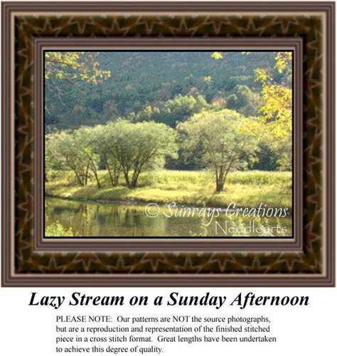 Lazy Stream on a Sunday Afternoon, Landscapes Counted Cross Stitch Pattern