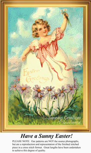 Have a Sunny Easter, Vintage Counted Cross Stitch Pattern