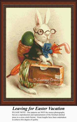 Leaving for Easter Vacation, Vintage Counted Cross Stitch Pattern