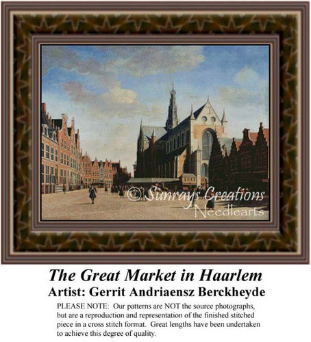 The Great Market in Haarlem, Fine Art Counted Cross Stitch Pattern, Urban Counted Cross Stitch Pattern