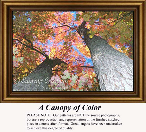 A Canopy of Color, Trees Counted Cross Stitch Pattern