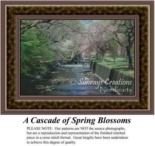 A Cascade of Spring Blossoms, Alluring Landscapes Counted Cross Stitch Pattern, Spring Counted Cross Stitch Pattern