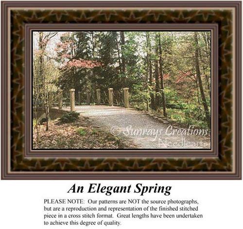 An Elegant Spring, Alluring Landscapes Counted Cross Stitch Pattern, Spring Counted Cross Stitch Pattern
