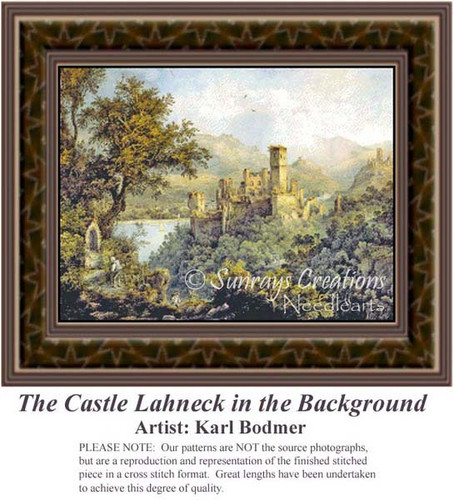 The Castle Lahneck in the Background, Alluring Landscape Counted Cross Stitch Patterns, Fine Art Counted Cross Stitch Pattern