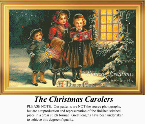 The Christmas Carolers, Vintage Counted Cross Stitch Pattern