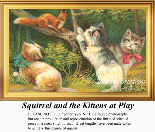 Squirrel and the Kittens at Play, Vintage Counted Cross Stitch Pattern