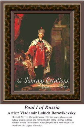 Paul I of Russia, Nobility Counted Cross Stitch Pattern, Fine Art Counted Cross Stitch Pattern