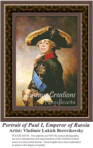Portrait of Paul I, Emperor of Russia, Nobility Counted Cross Stitch Pattern, Fine Art Counted Cross Stitch Pattern