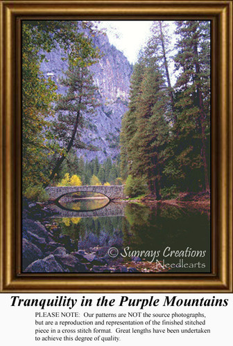 Tranquility in the Purple Mountains, Landscape Cross Stitch Pattern